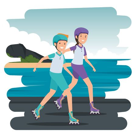 happy athletic couple in skates on the beach vector illustration design Illustration