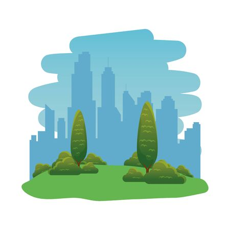 park landscape forest scene icon vector illustration design