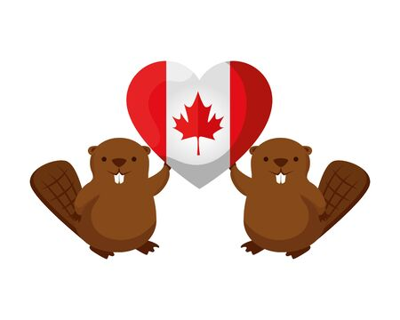 canadian flag with heart shape and beavers vector illustration design