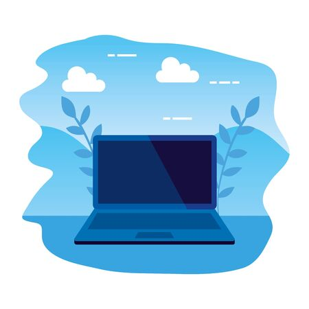 laptop computer electronic isolated icon vector illustration design