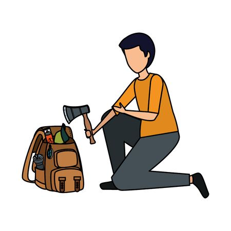 young man with camping travel bag and equipment vector illustration design Stock Illustratie