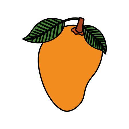 fresh mango fruit nature icon vector illustration design  イラスト・ベクター素材