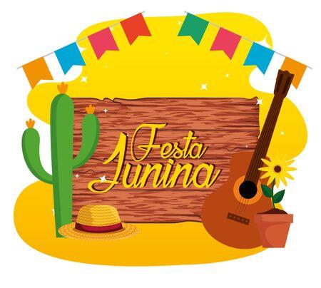 Emblème en bois avec cactus et tournesol vector illustration