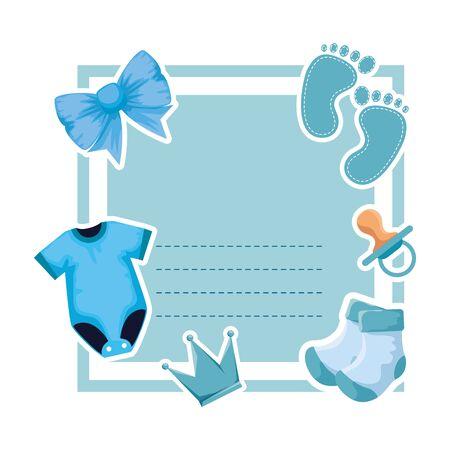 Babypartykarte mit Kleidung und Fußabdruckvektorillustrationsdesign