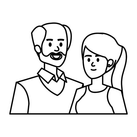 adults parents couple avatars characters vector illustration design