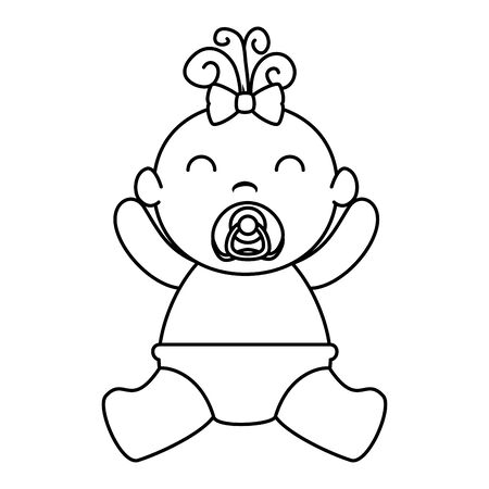 cute little baby girl character vector illustration design Illusztráció
