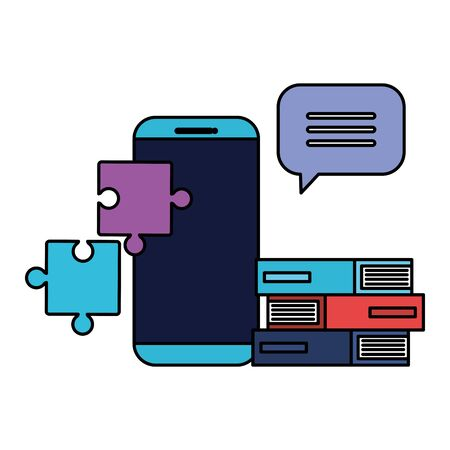 smartphone technology with books and puzzle pieces vector illustration design