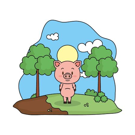 cute pig in the landscape vector illustration design Foto de archivo - 129603355
