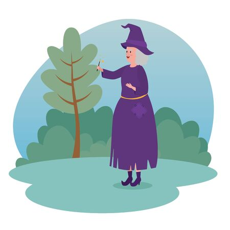 old woman witch with magic wand and hat to tale character, vector illustration Иллюстрация