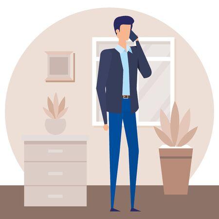 businessman worker calling with smartphone in house corridor vector illustration Çizim