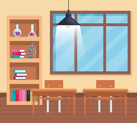 books with flask and microscope with window in the classroom to back to school vector illustration Stock Illustratie