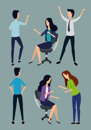 set of businesswomen and businessmen with elegant clothes over gray background, vector illustration