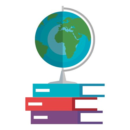 world planet map and books education icons vector illustration design Illustration