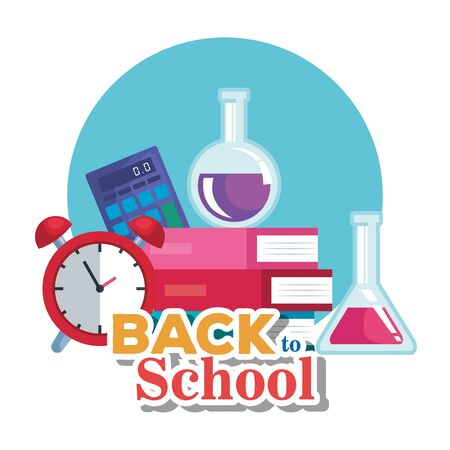 books with flask and calculator with clock alarm to back to school vector illustration