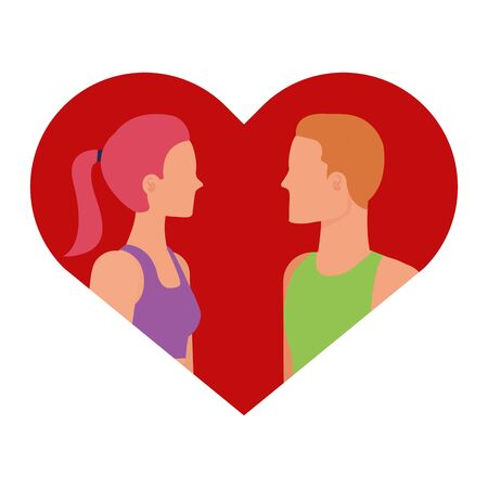 young lovers couple in heart love vector illustration design Иллюстрация
