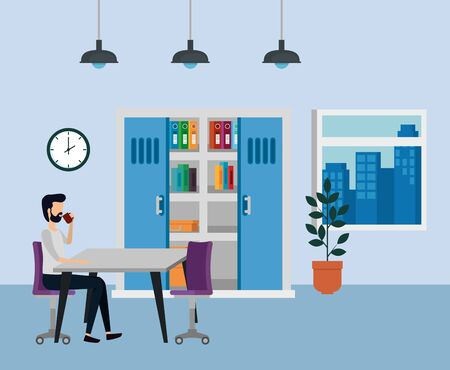 businessman sitting in the chair and drinking hot coffee cup to business office, vector illustration Stock Illustratie