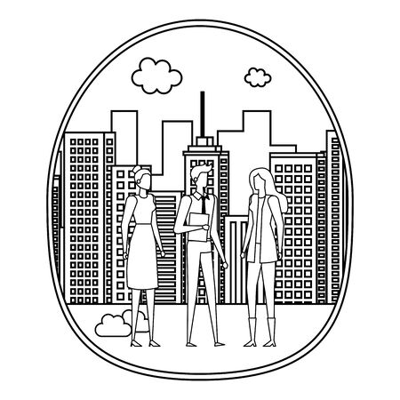 elegant young business people on the city vector illustration design Çizim