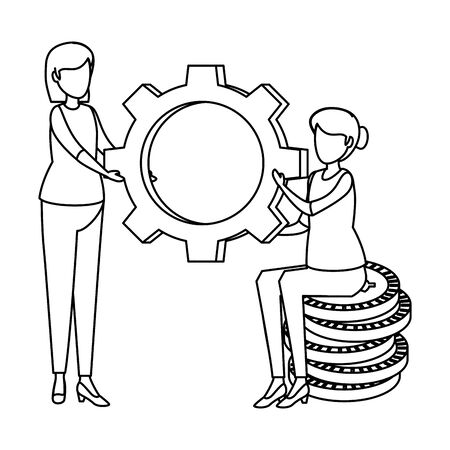 women lifting gear with coins dollars vector illustration design Vettoriali