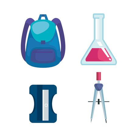 set of backpack with erlenmeyer flask and sharpener with compass pencil to back to school vector illustration Banco de Imagens - 129736402