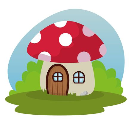 fungus house with door and window with bushes plants to fantasy story, vector illustration Иллюстрация