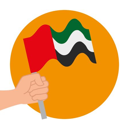 hand with United Arab Emirates flag waving in pole vector illustration design