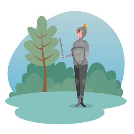 sir with armor and shield next to tree and bushes plants to tale character, vector illustration