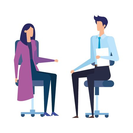 elegant business couple workers in office chairs vector illustration design Illustration