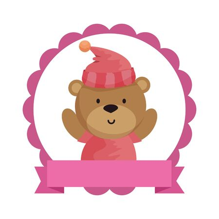 lace with little bear teddy and hat vector illustration design