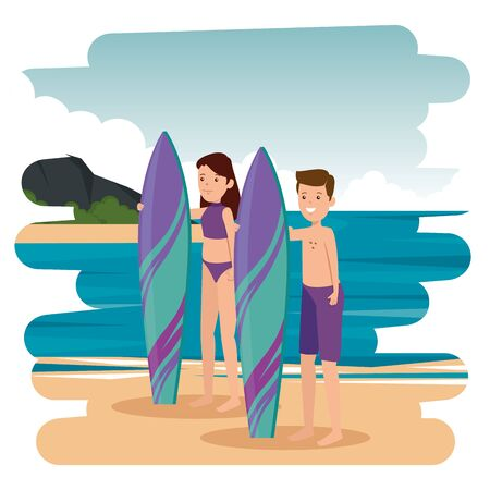 happy athletic couple practicing surf in the sea vector illustration design