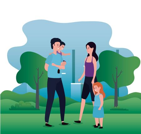 parents couple with daughter and son on the park vector illustration design Illusztráció