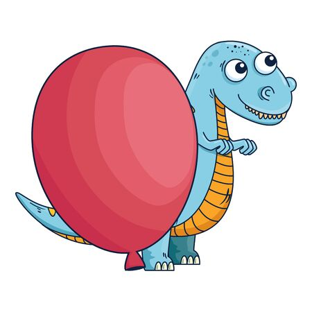 cute tyrannosaurus rex with balloon helium vector illustration design  イラスト・ベクター素材