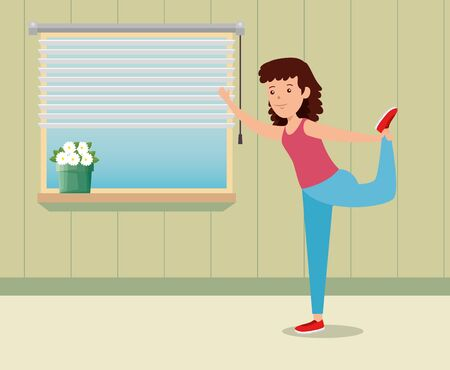 girl practice yoga healthy exercise in the home to summer sport vector illustration