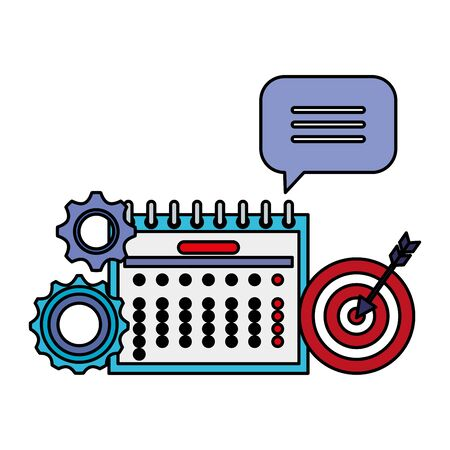 calendar date reminder with gears and target vector illustration design Stok Fotoğraf - 129789700