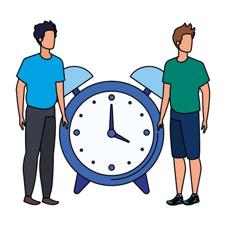 young men with alarm clock characters vector illustration design