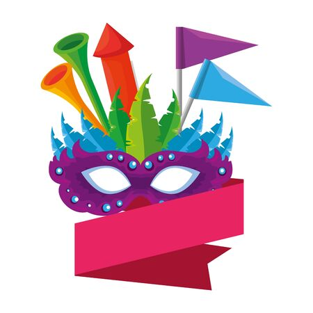 carnival mask with trumpets and fireworks vector illustration design