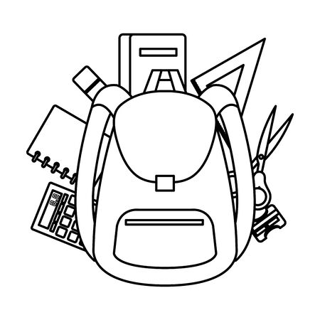 school bag with supplies icons vector illustration design