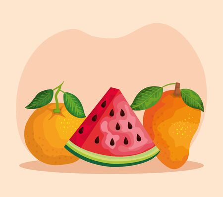 delicious orange with watermelon and mango with leaves over pink background, vector illustration