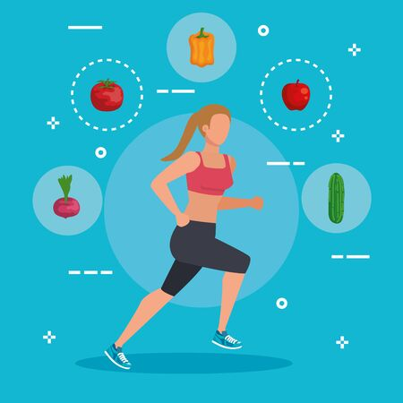 woman running sport with healthy food to balance nutrition, vector illustration Illustration