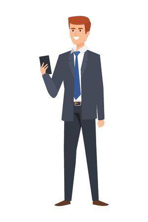 elegant businessman calling with smartphone vector illustration design Illustration