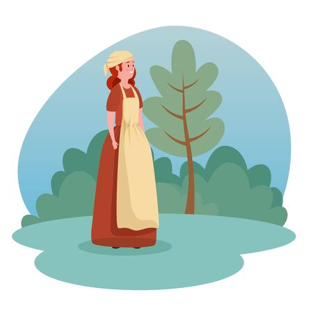 woman medieval peasant with tree and bushes plants to tale character, vector illustration