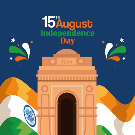 india tradional flag patriotic and architecture to independence day vector illustration