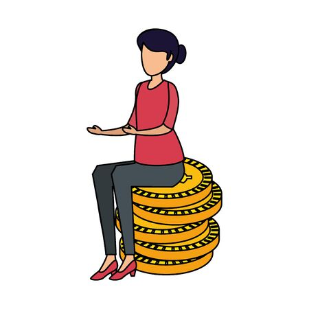 young woman seated in coins cash money dollars vector illustration design  イラスト・ベクター素材