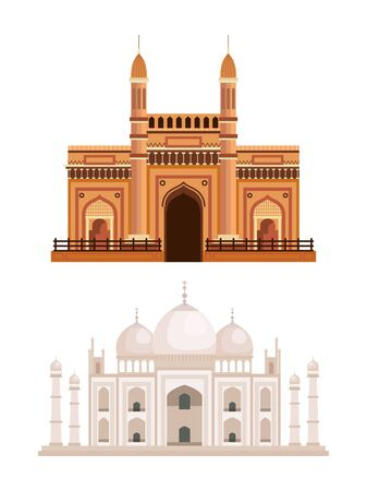 set of india architecture and taj mahal over white background vector illustration 일러스트