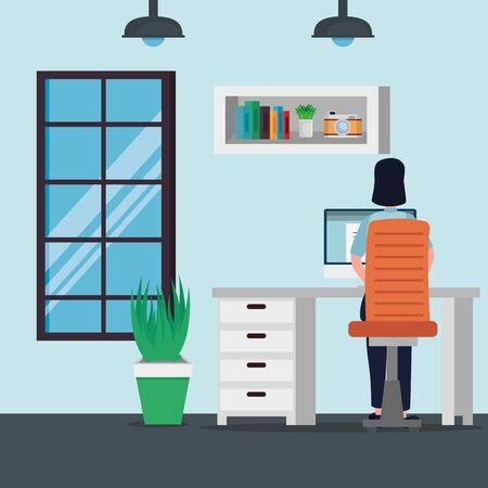 businesswoman with computer technology and books report to office work, vector illustration