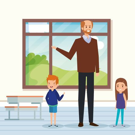 man teacher in the classroom with kids and desk to academic education vector illustration