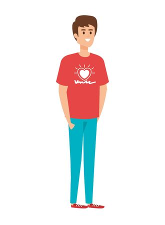 young man volunteer character vector illustration design Иллюстрация