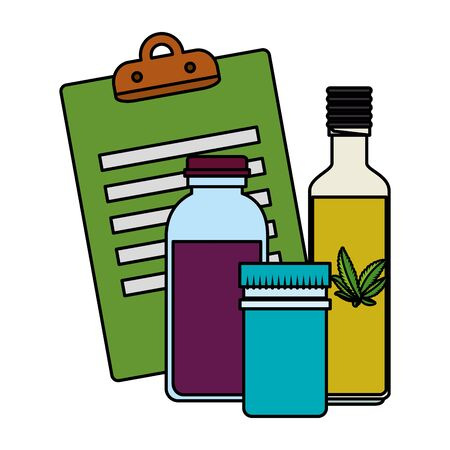 checklist and cannabis bottles products vector illustration design Иллюстрация
