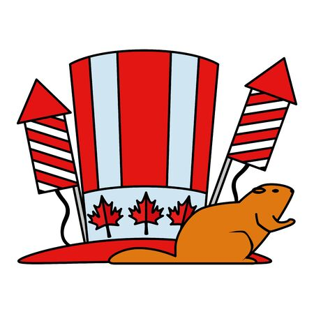 canadian tophat with fireworks rockets and otter vector illustration design