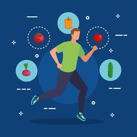 man running with organic vegetables and apple to healthy food, vector illustration Illustration