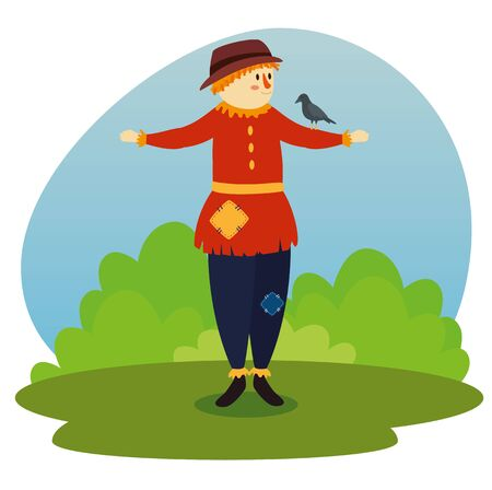 dove bird in the cute scarecrow and bushes plants to tale character, vector illustration